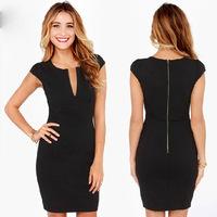 Sexy Europe and America Dress Women's clothing V-neck back Zip short sleeve black Elastic slim Dresses size S M L XL