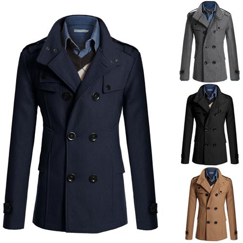 New 2014 Wool Coat Design Fashion men's jackets overcoat Cotton Regular Men jacket CasualF33(China (Mainland))