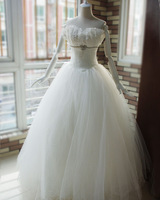 Sparkling diamond bow wedding dress shell lace wedding dress bride white yarn wedding dress