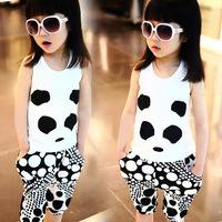 free shipping! new 2014 summer children clothing set  baby boy & girl bearcat cartoon t shirts+Harem Pants 2pcs clothing sets