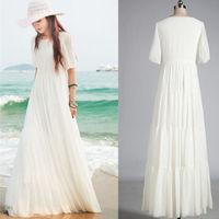 2014 fashion women Summer Beach White Sleeve Party Casual Chiffon Lace Long Boho Maxi Dress