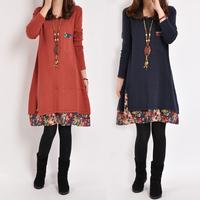 Women'S casual dress winter dress Long Multi Colors Loose plus size cute patchwork female 2014 New women clothing Dress D435