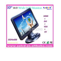 "10"" hdmi monitor hdmi /AV/ DVI/Audio with 16:9 wide TFT LED 1024x600 HD Display+free shipping!"