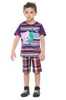 2014 Summer New Boy Pants Cartoon Plaid Slacks Solid Fashion Tide Cartoon Boy Shorts Free Shipping Promotion