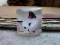 3pcs 25x25mm Handmade Square Glass Cabochon Vintage Photo Cabochon (The cat) GR3-15