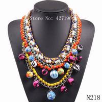 NEW HOT SALE trendy 2014 Fashion multi color round cotton fabrics ball choker pendant statement chunky Necklace & pendant