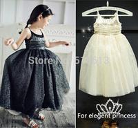 New arrive 2014 hot Summer korean children clothing,girls Sequined elegant lace dress,princess baby costumes,2-7Y Frozen kids