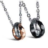 Newest Design Prismatic Gift Stainless Steel Black/Plating Rose Gold And Silver Lovers Pendant Necklece,One Ball Chain For Free