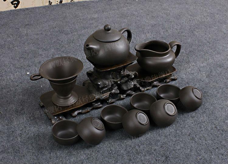 2014 small size Chinese Yixing kungfu Clay teaset, 13 pcs purple clay tea set, 150ML teapot + filter + 8 cups(China (Mainland))