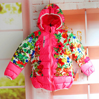Baby Girls Winter Parkas Brand Children's Outerwear & Coats Floral Coats and Jackets for Children 2014 Pink Red Kids Overcoat