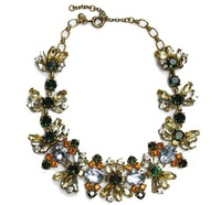 European big butterfly color crystal gems flower necklace chain exaggerated retro with accessories Statement Necklaces