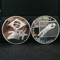 HOT!!!5 pcs/lot Free shipping 2014 Brazil World Cup Silver plated Iron Souvenir Coin