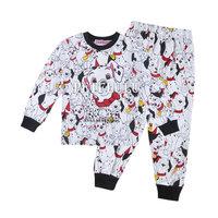 2014 new 100% cotton cute dog baby pajamas children leopard pyjamas kids long sleeve t-shirts pants clothing 2 pcs set