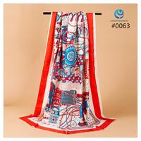2014 Big Size 140x140cm Silk Square Scarf Women Fashion Brand High Quality Silk Satin Scarves silk Shawl Hijab Print #006