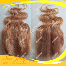 Free Shipping 4*4 Peruvian lace Closure Bleached Knots virgin body wave hair #27 honey blonde color (China (Mainland))