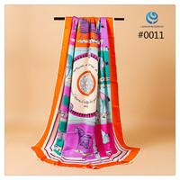 2014 Big Size 140x140cm Silk Square Scarf Women Fashion Brand High Quality Silk Satin Scarves silk Shawl Hijab Print #001