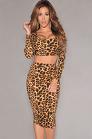 2014 New Sexy Summer High Street 2 Pcs O-Neck Leopard Print Long Sleeves Knee-Length Dress Set LC6527