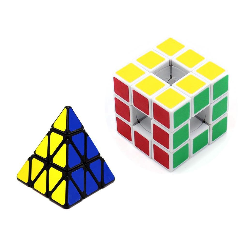 2Pcs New Puzzle Practice Cube 3x3 Void Cube/Magic Cube Hollow&Pyraminx Triangle Pyramid Magic Cubes Educational Toy Math Toys(China (Mainland))