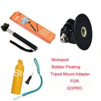 3ni1 Gopro Handheld Monopod Tripod Mobile phone Monopod +Tripod Mount Adapter + Yellow Floating Handheld MonoPod For i9500