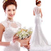 luxurious French lace perspective sexy halter design fishtail trailing Korean Wedding dress 2014 plus size vestidos de noiva9289