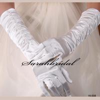 2014 In Stock Hot Sale White Ivory Elegant Bridal Gloves Wedding Girls Stretch Satin Wedding Gloves Bridal