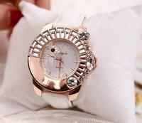 Women dress watches Fashion Tone Crystal Watch Women Ladies Horse Quartz  Wristwatches Leather Strap Watches ML0478