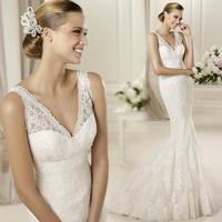 hot&sexy v-neck mermaid court lace openback wedding dress 2014 summer dress sleeves plus size vestido de madrinha longo 8286