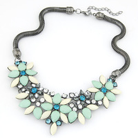 Fashion Unique Luxury Blue Chunky Choker Necklace Statement Jewelry For Women gifts New 2014