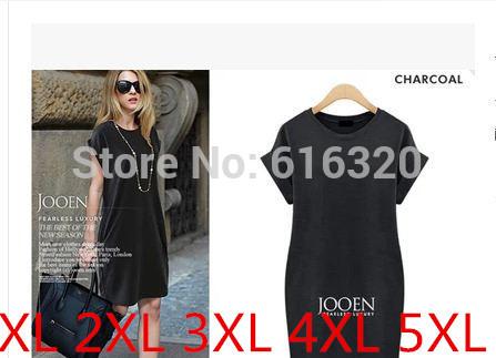 ONL1238 High Qaulity Plus Size Women Summer Dress Black Gray Hin Thin Short Sleeve Casual Dress(China (Mainland))