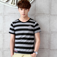 New 2014 Men's tees Fashion casual  o-neck short sleeve cotton stripe t-shirts men male tops t shirt spring summer  clothing