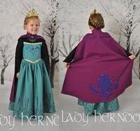 Retail,New 2014 frozen dress baby & kids girl summer dress frozen party printprincess Anna dresses vestidos dress+cape de menina