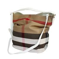HOT 100% Real Leather & Canvas Bag Plaid casual hobo bag for Women genuine leather handbag Totes Shoulder messenger bag