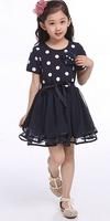 Wholesale - - 2014 New Spring Autumn Girls Dress Clothes Children cute Dot short sleeve 2 colors Dot dresses