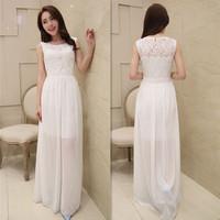 Korean Fashion Elegant New 2014 Summer Spring Women's Chiffon Casual Plus Size Waist Lace Dress Beach Full Dress Tops Female