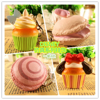 12pcs/lot new original D-I-S-N-E-Y puff cupcake macaron squishy charm with original tagsoft slow rising  freeshipping