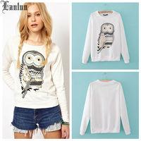 Lanluu Hot Selling Long Sleeve Shirt Owl Printed Casual Women Sweater Shirts SQ611