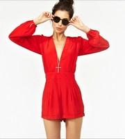 Richcoco fashion sexy V-neck long-sleeve high waist chiffon one piece shorts jumpsuit d148