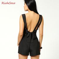 Fashion richcoco V-neck racerback bow chiffon jumpsuit shorts braces skirt pants d024