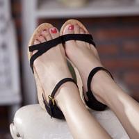 2014 wedges sandals high heels platform summer shoes women's platform black sheepskin leather cool brief