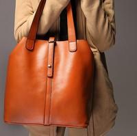 HOT 2014 new fashion handbags women leather large totes retro genuine leather shoulder bag bucket bag free shipping