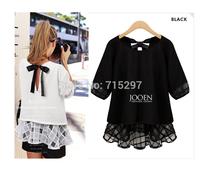2014 fashion women big size plus size european style loose shirt lace patchwork chiffon shirt fat women clothes XXXL BUST 120