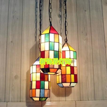 tiffany tre lampadario in vetro colorato lampada marocco continental ...