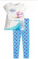 Retail New 2014 frozen baby girls clothing sets children kids boys summer pajamas child Anna Elsa princess clothes for 2-7T
