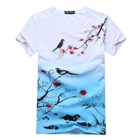 2014 summer new fashion men's t-shirt Men's Chinese style V-neck short-sleeved t-shirt printing wholesale free shipping