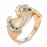 Abalone + Rhinestone rose gold Plated inlay creative feet Ring Fashion CZ Zircon Austrian Crystal  Ring