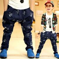 A generation of fat Korean foreign trade children's clothing spring models skull baby boy denim harem pants long tidal