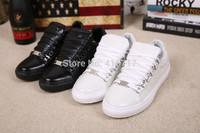 White/Black 2014 New Celeb Style Men Sneakers Lace-up Flat Men Shoes Brand Designer Arena Men Shoes,Plus Size 46