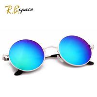 2014 new arrival fashion vintage round metal box circle anti-uv sunglasses female sunglasses female multi-colored mirror