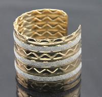 2014 Gold Plated Alloy Bracelets Gift Jewelry Fashion Layering Metal Strip Opened Women's Cuff Bangles 10pcs/lot