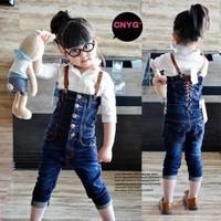 Free shipping new Korean children's clothing girls strap denim overalls new spring 2014 women denim trousers